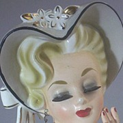 Vintage Rubens Original Porcelain Glamour Lady Head Vase