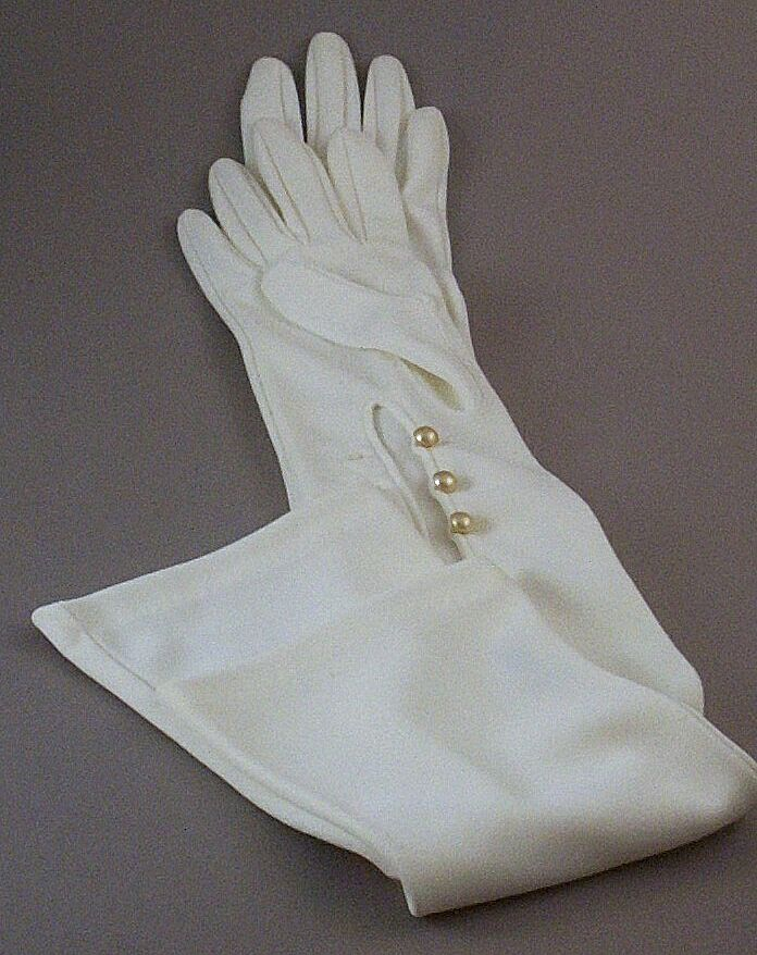 Elegant  Vintage Opera-Length Formal or Bridal~Wedding Gloves with Simulated Pearl Buttons
