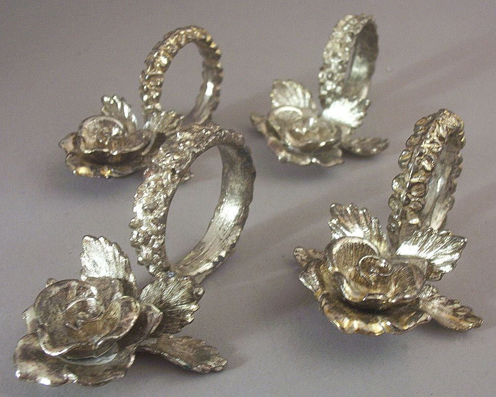 "Set (4) Scarce Vintage Princess House Silverplate ""Heritage"" Napkin Rings & Placecards"