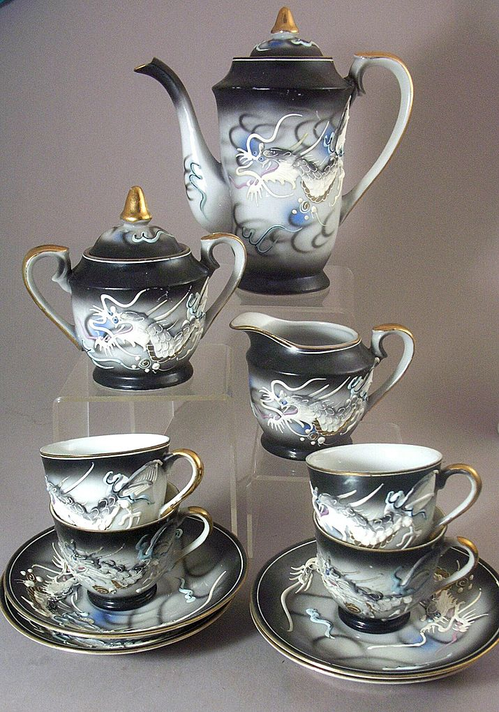 13 Pc Vintage Kutani Dragonware - Moriage Hand Painted Tea Set