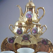 ( 13 Pc) 22K Gold-Plated Porcelain Demitasse Tea Set with Romantic Courtship Scene - Numbered