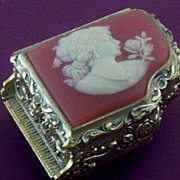"Piano-Shape Musicbox with Cameo-Lady Cover ~ Plays ""Amazing Grace"""