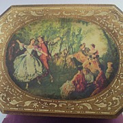 "Vintage Large Musical Jewelry Box with Period Scene - Plays ""Somewhere My Love"""