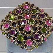 Signed Sarah Coventry Austrian Lites Brooch