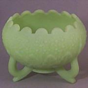 Fenton 3-Toed Custard Glass Footed Bowl - Leaf & Orange Tree Pattern