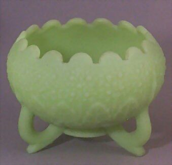 Fenton 3-Toed Custard Glass Footed Bowl - Leaf & Orange Tree Pattern