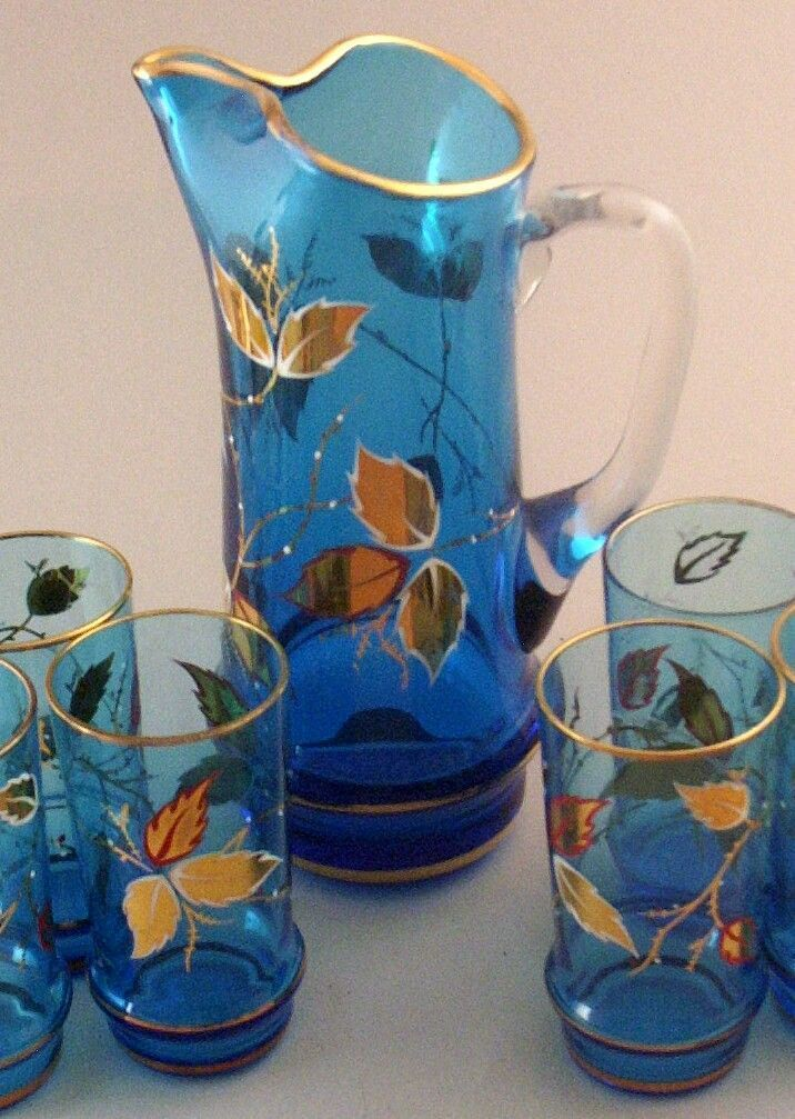 Gorgeous Vintage 7 Pc. Hand-Painted & Gold-Leafed Cat-Tail Pitcher & Glasses Set