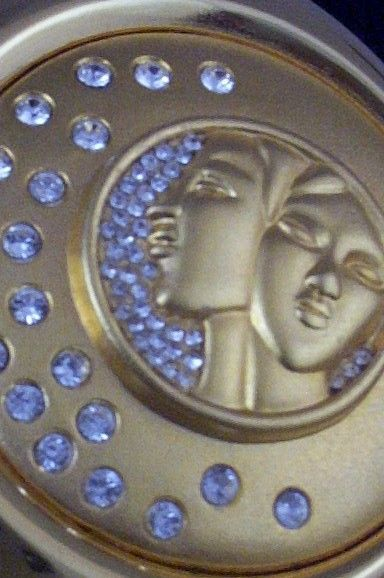 Collectible Estee Lauder Gemini Zodiac Rhinestone Compact -Unused & Box & Pouch