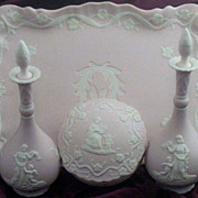7  Pc Vintage Pink Jasperware-Style Dresser Set with Cherubs & Maiden