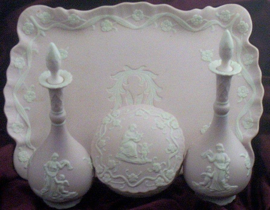 7  Pc Vintage Pink Jasperware-Style Dresser Set with Cherubs & Maiden