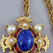 Regal Heraldic Renaissance -Style Pendant - Marked 3587