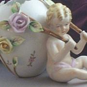 Vintage Porcelain Putti-Cherub with Floral Egg Cart Figurine & Vase