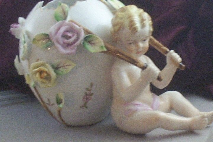 Vintage Porcelain Putti-Cherub with Floral Egg Cart Figurine & Vase