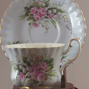 Royal Albert Teacup Set with Pink Rosebuds & Lily of the Valley