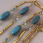 "36"" long Sarah Coventry Faux Turquoise Link Necklace"