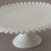 Vintage Fenton Ruffled, Crimped Cake Plate with Hobnail Pedestal