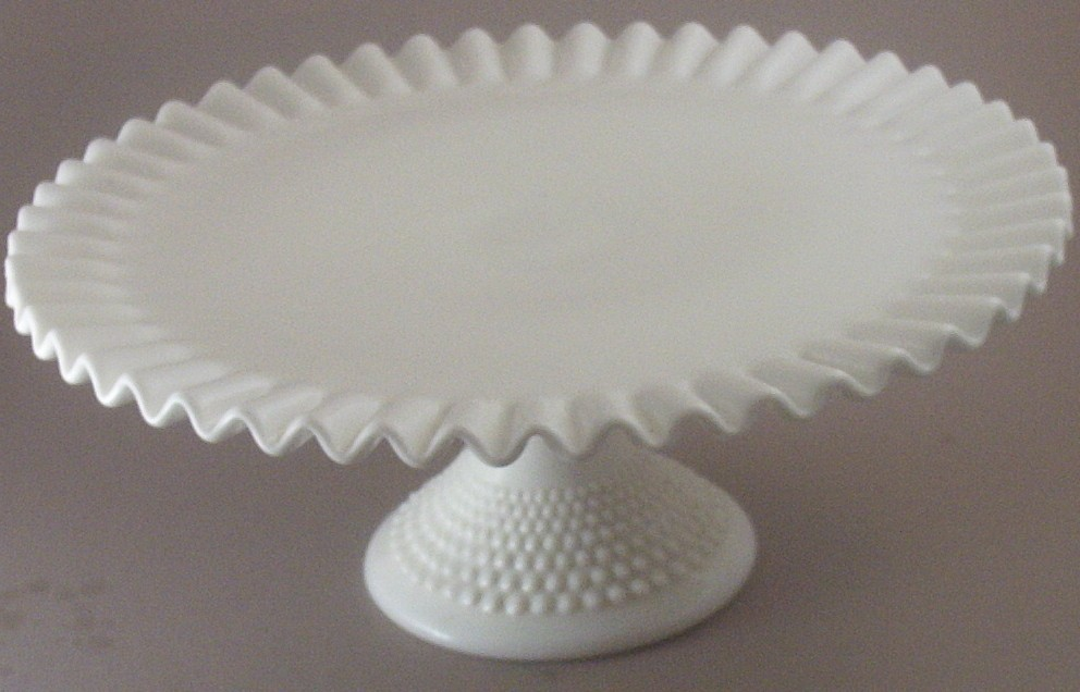 vintage fenton ruffled crimped cake plate with hobnail pedestal