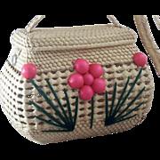 Unique & Whimsical Vintage Straw Floral Handbag - Never Used