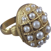 Vintage Avon Locket Ring with Simulated Pearls & Original Box