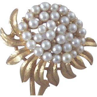 """Vintage Floral Brooch with Over Two-Dozen Simulated Pearl """"Seeds"""""""