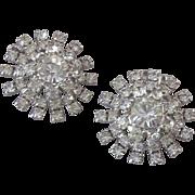 Vintage Sparkling Glass & Rhinestone Snowflake Ear Clips