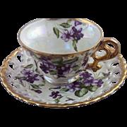Vintage Royal Sealey Lusterware & Violets Teacup & Reticulated Saucer