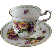 Vintage Queen's Fine Bone China Teacup with Multi-Color Pansies