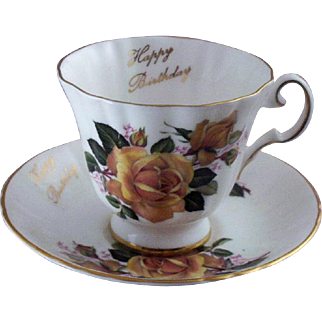 "Vintage Royal Grafton Fine Bone China ""Happy Birthday"" Teacup & Saucer Set (Numbered)"