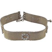 Vintage Victorian-Style Metal-Mesh Choker Necklace with Rhinestones