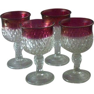Vintage Set (4) Indiana Glass Diamond Point & Ruby Flash Stemware