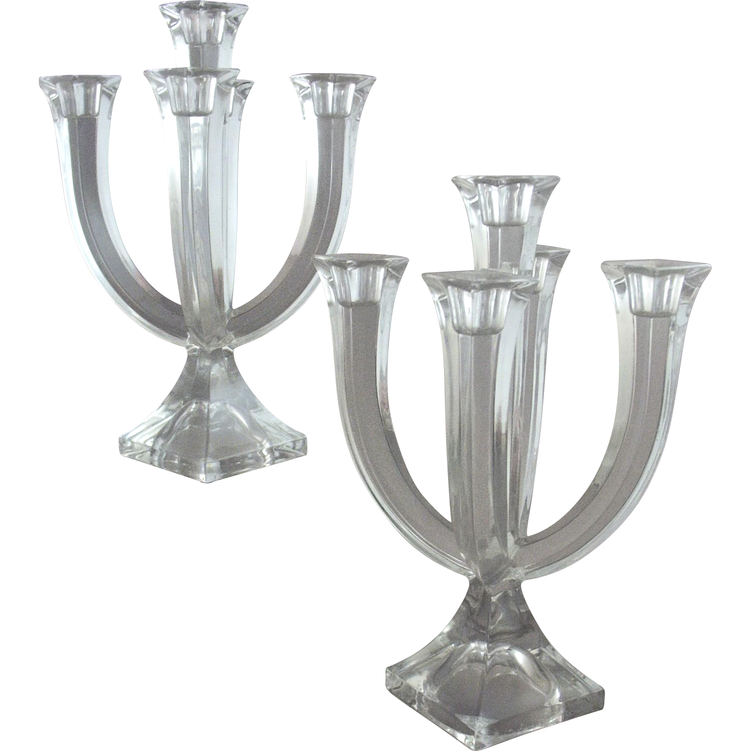 Pair of Vintage Lead Crystal 5-Light Candleabra for Table~Console, Sideboard, or Mantel