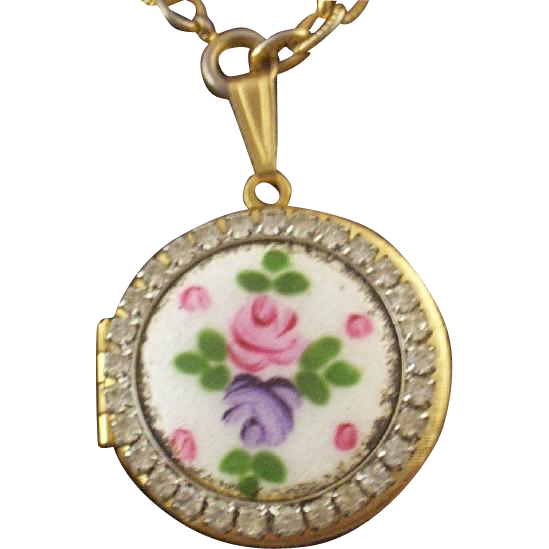 Vintage Guilloche Enamel & Rhinestone Locket & Hand-Painted Rose with Free Bonus Set