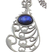 Vintage Reed & Barton Pewter & Simulated Lapis Peacock Necklace