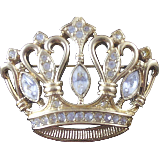 Vintage 1988 Kenneth J Lane (for Avon) Crown Rhinestone Brooch