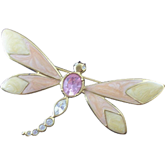 Oversized Vintage Kennth J Lane (KJL) Avon Enameled & Rhinestone Dragonfly Brooch
