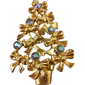 Vintage Signed Avon Bow & Aurora Borealis Christmas Tree Pin (Book Piece)
