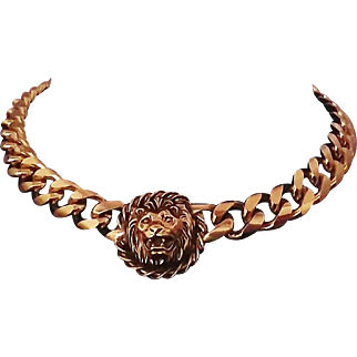 Vintage Anne Klein Couture-Style Lion-Head Logo Collar Necklace ~ Pendant