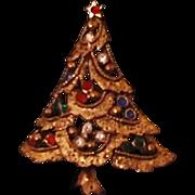 Vintage Rhinestone-Encrusted & Openwork Christmas Tree Pin & Older C-Clasp