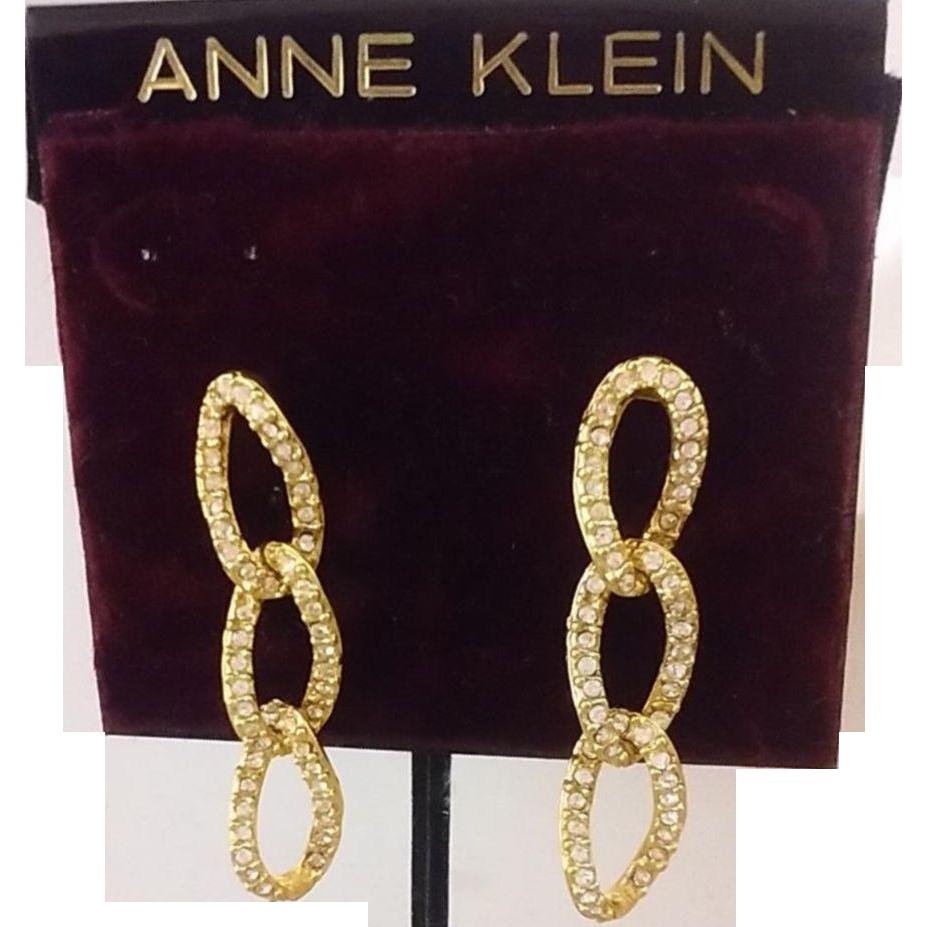 Vintage Anne Klein Pave' Rhinestone Drop Earrings - 18K Gold-Filled Posts - Original Card & Price