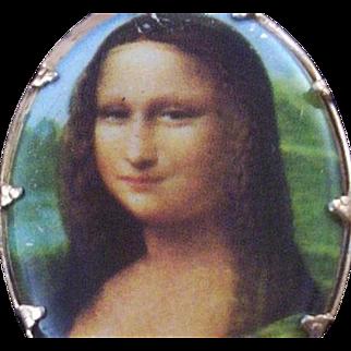 "Vintage Transfer Image ""Mona Lisa"" Brooch with Older C-Clasp"