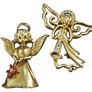 Pair of Enchanting Guardian Angel Brooches