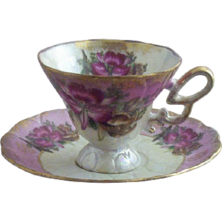 Vintage Royal Halsey Exotic Pink Orchids Teacup & Saucer Set