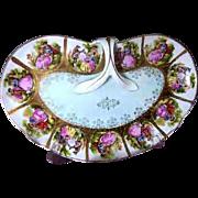 """Vintage Kalk Porcelain """"Love Story"""" Medallions Handled -Dish"""