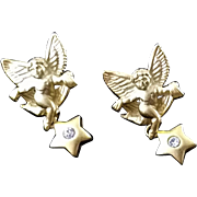 Signed GIVENCHY Angel (Cherub) Earrings with Reticulated Swinging Rhinestone Stars