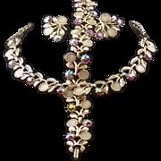 Vintage Rhinestone & Enameled Floral 3-Piece Parure Set ~ Necklace, Bracelet & Earrings