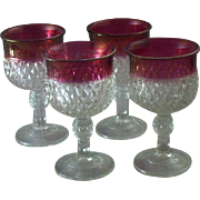 "Set of (4) Vintage Indiana Glass 6 1/2""  King's Crown Stemware with Ruby-Stain AND FREE BONUS"