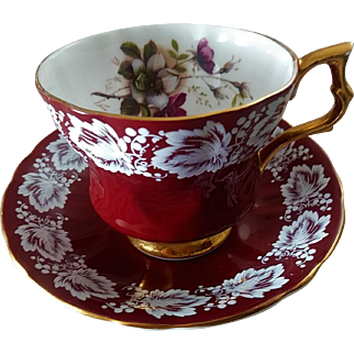 Vintage Royal Albert Fine Bone China Burgundy Floral Teacup ~ England & Numbered
