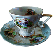 Vintage Lefton Bone China Hand-Painted Romantic Courtship Teacup & Saucer Set ~ Reg.  & Numbered