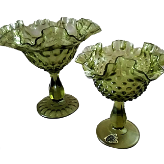 Set of (2) Fenton Green Ruffled & Crimped Footed (or low pedestal) Candy Dishes
