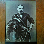 Later 1800's Cabinet card Knights Templar mustached man masonic photographer S Wing early socialist